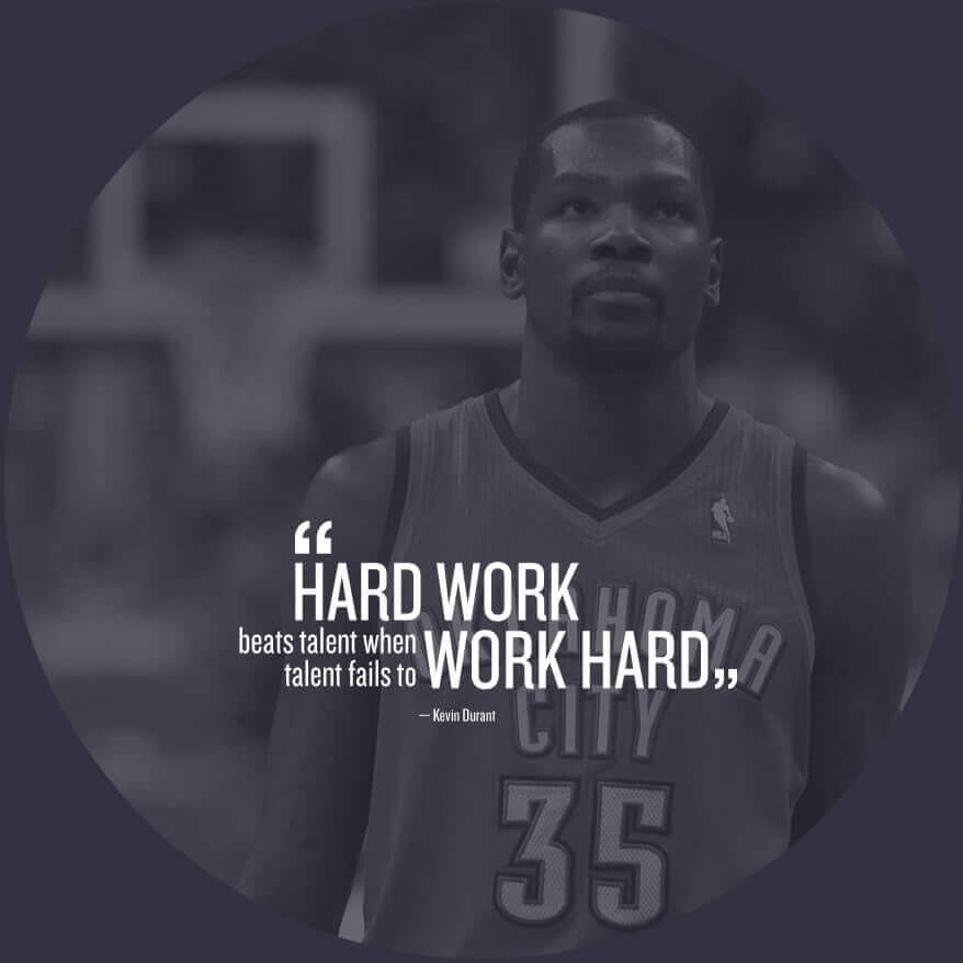 Hard work beats talent when talent fails to work hard - Kevin Durant