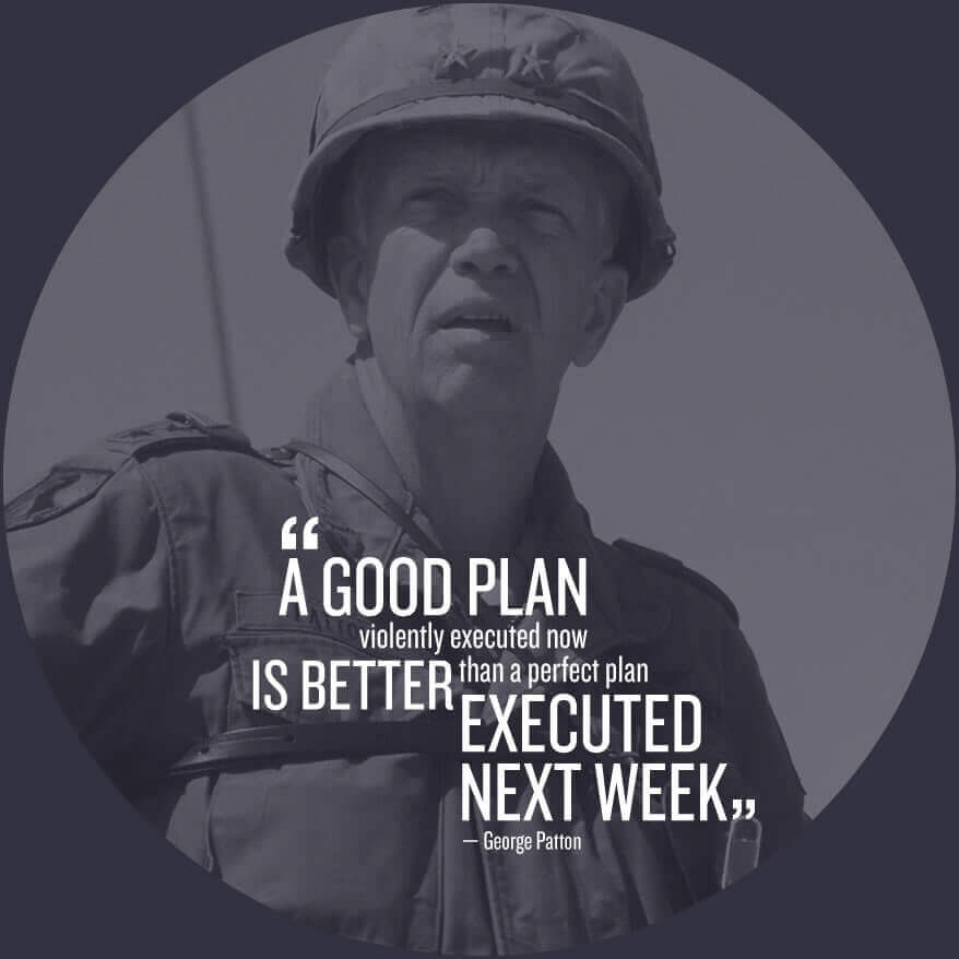 A good plan violently executed now is better than a perfect plan executed next week - George Patton